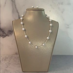 White Glass Pearls Silver Chain Necklace Set